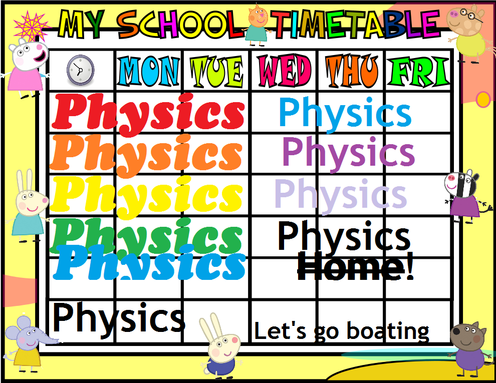 Mrs Physics Timetable