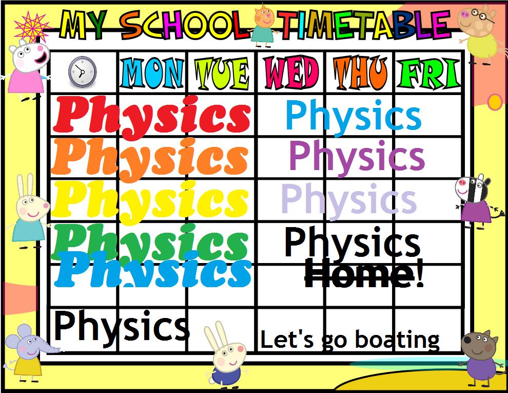 Mrs Physics Timetable